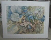 """Betty Bell listed NC artist signed 1991 """"Dragon Time"""" watercolor painting MINT!"""