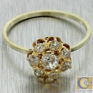 1870s Antique Victorian Estate 14k Multi Gold .50ctw Diamond Cluster Ring