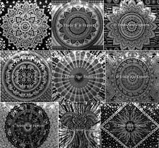 Indian Mandala Tapestry Black And White Wall Hanging Hippie Bedspread Dorm Decor