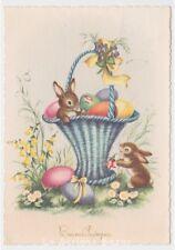 1959 cartolina augurale PMCE fg 683/5 Pasqua cesto uova colorate conigli viole