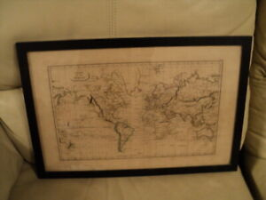 ANTIQUE FRAMED MAP OF THE WORLD