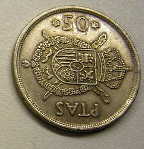 1975 Spain 50 Pesetas Coin