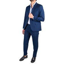 Abito uomo lana cotone blu elettrico D4 Elegante  Cerimonia Saldi Sconto - 70%
