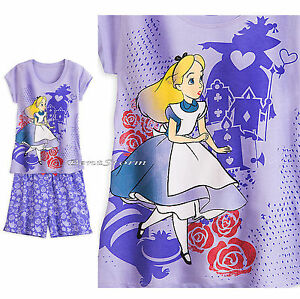NEW Alice in Wonderland Icons Short PJS PAJAMAS Sleep Set for WOMEN DISNEY STORE