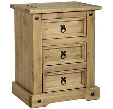 CORONA 3 Drawer Bedside Cabinet - Mexican Solid Pine Bedroom Furniture