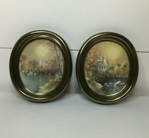 Vintage Set Of (2) Wall Hangings Church Swan Country Farmhouse