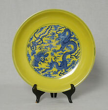 Chinese Blue and Yellow Glaze Porcelain Plate With Mark M2546