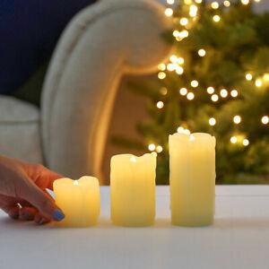 3 Pack | Battery Power LED Flameless Flickering Wax Candles | Pillar Home Decor