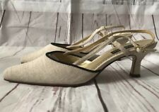 Ladies Jacques Vert Pointed Toe Sling Back Kitten Heel Size 39 Nude Christmas
