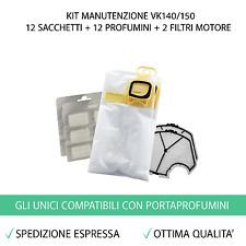 12 SACCHETTI + 12 PROFUMI + 2 FILTRI ASPIRAPOLVERE FOLLETTO VK140 VK150 (VK 140)