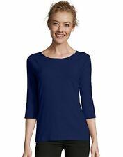Hanes Women's T-Shirt Raglan Sleeve Tee Stretch Cotton Plain 6 Colors sz S-2XL
