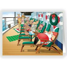 Cruise Ship Lounging Christmas Card - 18 cards & envelopes -60027