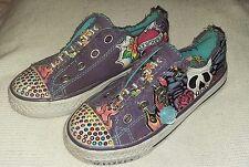Rare Skechers Kids Twinkle Toes Shuffle Glitterazzi Trainers Canvas Girls UK10.5