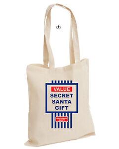 Value Secret Santa Gift Christmas Xmas Cotton Tote Present Tesco TOP (VALUE,BAG)