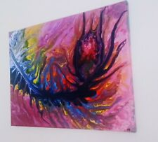 More details for original abstract acrylic pour painting on stretched canvas 12x16