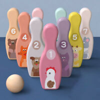 KQ_ Kids Wooden Animal Bowling Pins Balls Sport Toy Indoor Interactive Game Cand