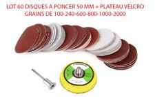 60 DISQUE A PONCER + PLATEAU VELCRO A TIGE GRAINS DE 100 A 2000 DREMEL PROXXON .