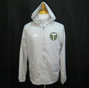 PORTLAND TIMBERS Men's (Size Medium) Gray ADIDAS Light Jacket Hooded Windbreaker