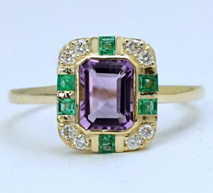 s R285 Genuine 9ct Gold Natural Amethyst Emerald Diamond Ring Suffragette size W