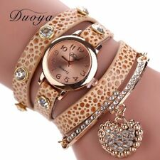 Fashion Women Bracelet Watch LOVE PU Leather Quartz Bangle Wrist XMAS Gift