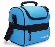 MIER Adult Lunch Box Blue Insulated Lunch Bag Large Cooler Tote Bag for Men,