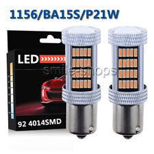 2pcs Purple Pink 92 4014 SMD LED DRL Daytime Running Lights Bulb 1156 BA15S P21W