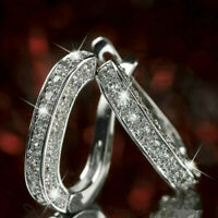 Fashion Luxury Round Earrings Women Silver Crystal Hoop Earrings Jewelry Gift