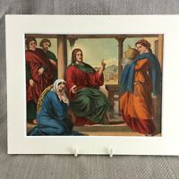 1860 Print Religious Art Jesus Christ Martha Preaching Antique Chromolithograph