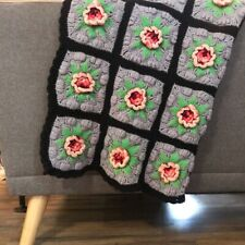 Vintage 3-D flower crocheted throw/blanket gray black pink and red