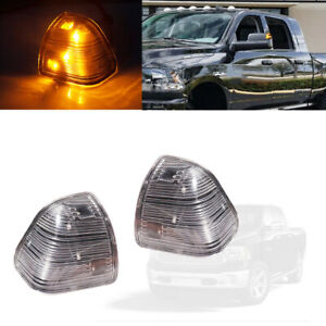 Fit Dodge Ram 1500 2500 3500 Clear Lens Amber LED Side Mirror Turn Signal Lights
