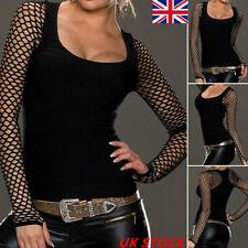 Women Githic Net Mesh Sheer Long Sleeve Blouse Fishnet  See Through Top T-Shirt