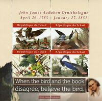 Chad Birds on Stamps 2020 MNH John James Audubon Ducks Parrots Art 4v M/S I