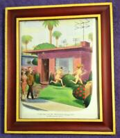 1966 🔥PLAYBOY CARTOON🔥 Mr. Witherspoon RETIREMENT Home in a Glass & Wood Frame