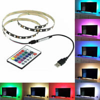 5V 5050 30SMD/M RGB LED Strip Light Bar TV Back Lighting Kit+USB Remote Control