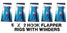 5 Sea fishing Rigs - 2 hook flappers 1/0 - Quality Shore Rigs - Plaice, Dab