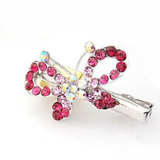 Full of Rose Pink Rhinestones Butterfly Hair Clips Accessories HA53