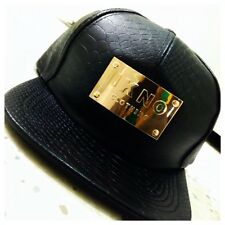 IKNO LEATHER SNAPBACK WITH METAL PLATE