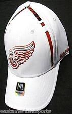 Detroit Red Wings NHL Reebok White Center Ice Hat Cap Stripe Flex Fitted L/XL