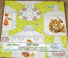 "1976 American Greetings ""Holly Hobbie"" Garden Gazebo Gift Wrapping Paper NIP"