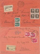 10685-Imperiale, lotto di 5 buste raccomandate con assegno, 1933-1939
