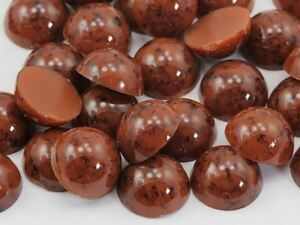 60PCS Brown Round Pearl Marble Flat Back Acrylic Cabochon Jewelry Crafts 13mm