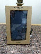 COACH iPHONE X/XS CASE SIGNATURE CANVAS&LEATHER BLUE CAMO F77932 NWT IN GIFT BOX