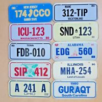 Mini License Plates Lot of (10) States Bicycles 1980 Tin Vintage Post Cereal