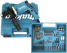 Makita HP1631KX3 Schlagbohrmaschine Bohrmaschine 710 W inkl. 74 tlg. Zubehörset