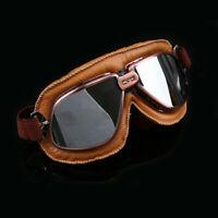 Vintage Goggles Aviator Pilot Retro Helmet ATV Off Road Racing Eyewear Leather
