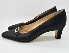 Vintage MANOLO BLAHNIK Black Satin Rhinestone Mary Jane Heels Shoes size 36