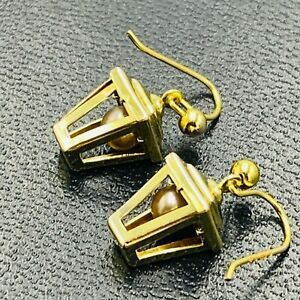 Vintage 9ct Yellow Gold Lantern Dangle Ear Rings set with Pearl L326
