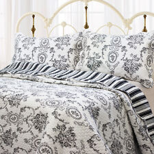 FRENCH COUNTRY MEDALLION BLACK King QUILT SET : SHABBY TOILE  FLORAL COTTAGE