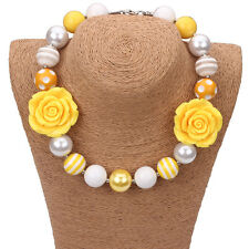 New Gumball Bubblegum Beads Yellow Flower Necklace for Little Kid Christmas Gift