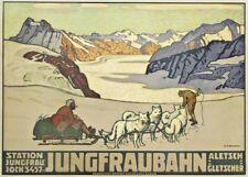 Vintage Ski Poster JUNGFRAUBAHN, 1914 by Wilhelm Burger, A3 250gsm Travel Print